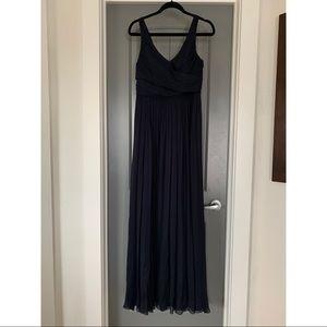 J Crew Navy Heidi Maxi Silk Chiffon Dress